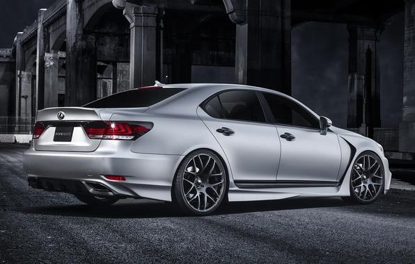Picture asphalt, shadow, Lexus, silver, Lexus, Blik, back, silvery, ЛС460, LS460 F Sport