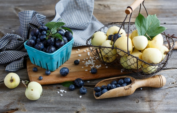 Picture berries, basket, apples, blueberries, dishes, fruit, basket, plum, blueberries