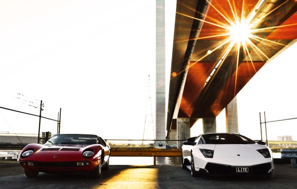 Picture white, red, bridge, the fence, support, red, white, lamborghini, Blik, front view, murcielago, Lamborghini, Miura, …