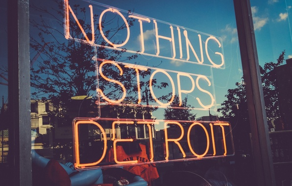 Picture reflection, USA, USA, shop, Detroit, showcase, Detroit