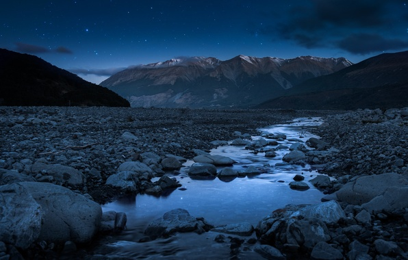 Picture stars, night, stones, stream, Mountains, mountain river, southern Alps