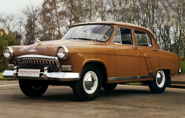 Picture background, sedan, classic, Volga, GAS, GAZ, Volga, 1958, brown.the front, M-21I