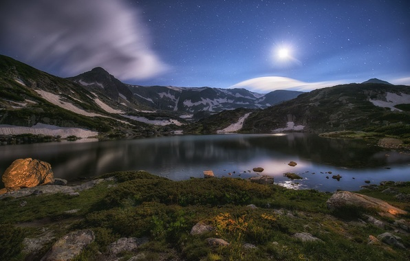 Picture stars, mountains, night, lake, the moon