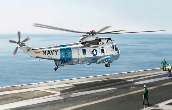 Picture figure, art, artist, deck, helicopter, American, U.S., Sea King, Vincenzo Auletta, SH-3G
