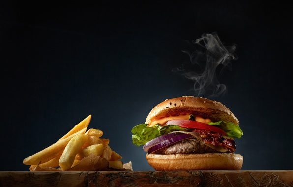 Picture meat, salad, French fries, Burger