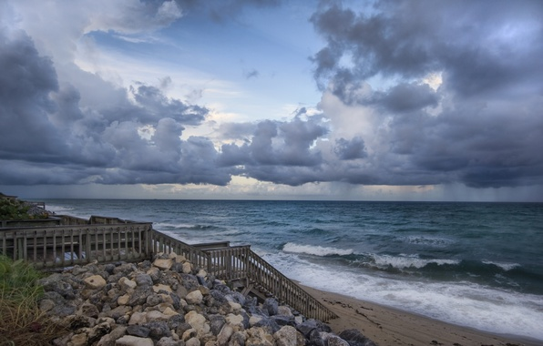 Picture sand, sea, wave, beach, the sky, water, clouds, landscape, nature, stones, background, widescreen, Wallpaper, wave, …