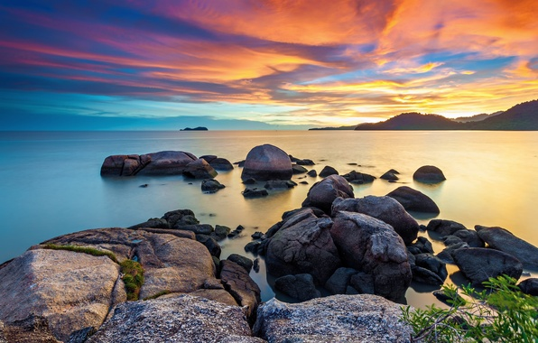 Picture sea, the sky, stones, dawn, morning