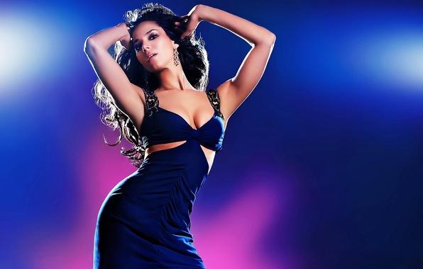 Picture look, girl, pose, background, model, hair, dance, earrings, hands, curls, blue dress