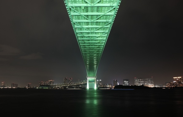 Picture bridge, the city, lights, Japan, Tokyo, Bay, Tokyo, Japan, Rainbow Bridge