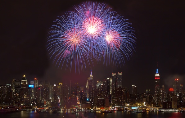 Picture night, city, the city, holiday, building, salute, fireworks, night, holiday, buildings, 2560x1440, firework