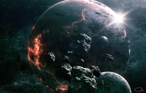 Picture space, stones, planet, art, destruction, meteorites, QAuZ