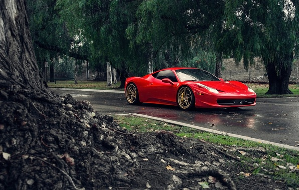 Picture Ferrari, Red, 458, Front, Tuning, Supercars, Italia, Road, Class iD