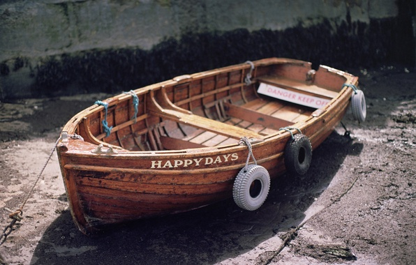 Picture the inscription, boat, tires