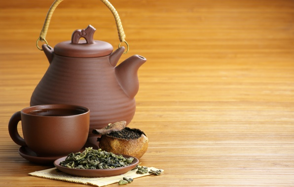 Picture table, kettle, mug, drink, saucer, green tea