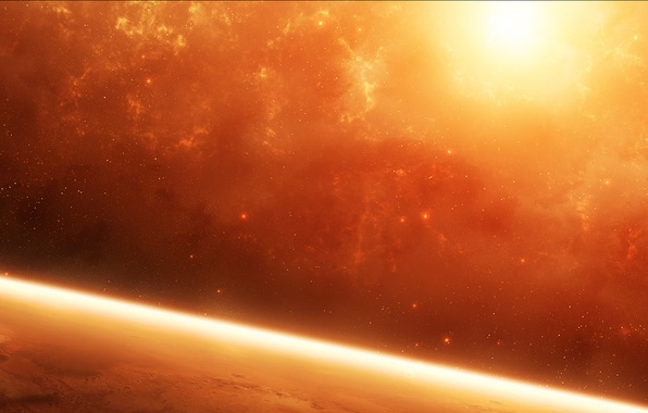 Picture the sun, stars, nebula, planet, the atmosphere, Space, red