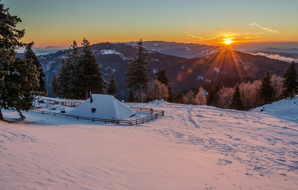 Picture winter, the sun, snow, mountains, morning