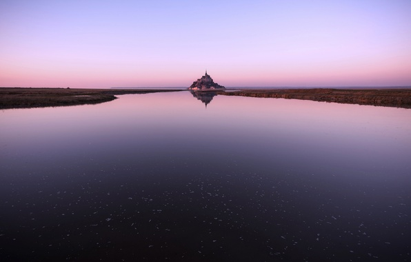 Picture the sky, water, reflection, France, island, fortress, Mont-Saint-Michel, the mountain of the Archangel Michael