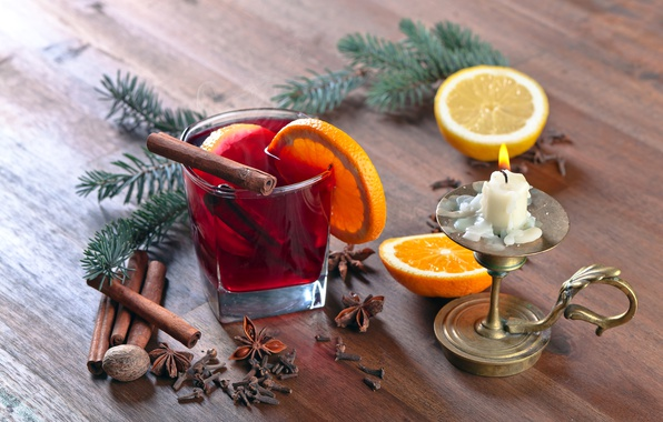 Picture tree, hot, orange, candle, Christmas, New year, hot, cinnamon, background, orange, New Year, candle, cinnamon, …