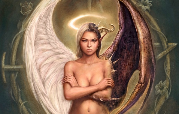 Picture girl, figure, Angel, the demon