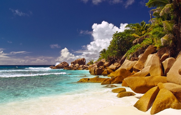 Picture sea, beach, the sky, water, Islands, clouds, palm trees, the ocean, rocks, Seychelles