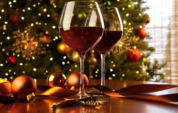 Picture decoration, wine, balls, tree, New Year, glasses, Christmas, Christmas, balls, decoration, Merry