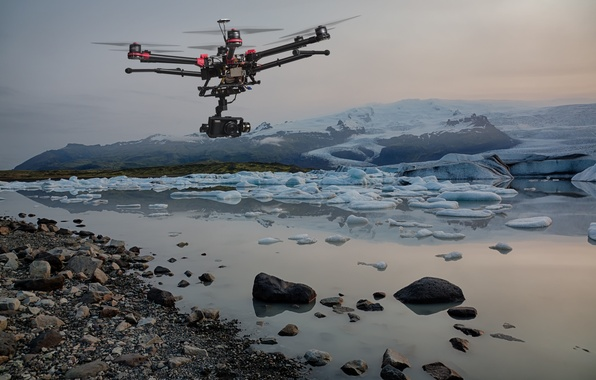Picture ice, the sky, flight, time, lake, helicopter, shooting, the study, observation, six, helicopter, unmanned, camera, ...