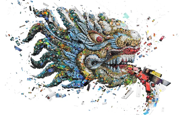 Picture mosaic, dragon, technology, smartphones