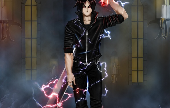 Picture weapons, magic, sword, anime, art, guy, air monger