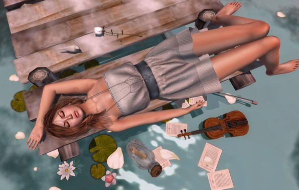 Picture water, girl, flowers, violin