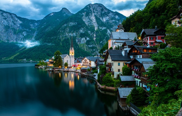 Picture trees, landscape, mountains, nature, the city, lake, building, home, boats, the evening, Austria, Alps, Church, …
