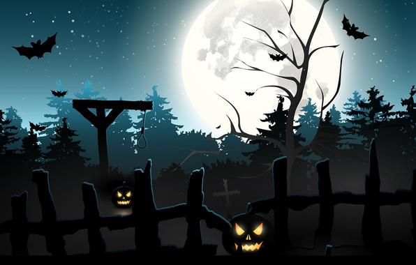 Photo wallpaper cemetery, noose, night, bats, the full moon, Halloween, hell of a grin, Jack, hangman, pumpkin, ...