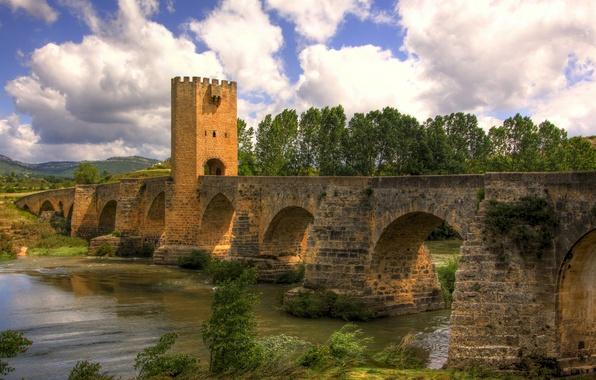 Picture the sky, clouds, trees, landscape, bridge, river, blue, Spain, Frias