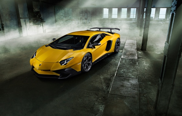 Picture machine, yellow, Lamborghini, supercar, front view, handsome, Aventador, Lamborghini, Novitec, Torado, LP 750-4