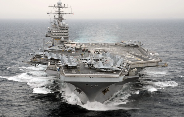 """Picture the ocean, fighters, the carrier, deck, Multipurpose, type """"Nimitz"""", with nuclear power, number CVN-71, Theodore ..."""