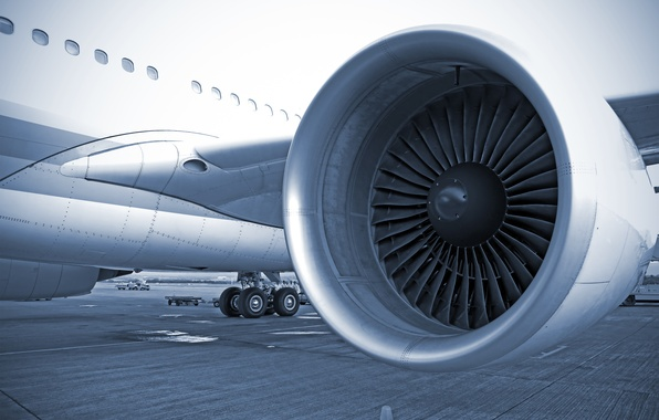 Photo wallpaper turbine, airliner, wing