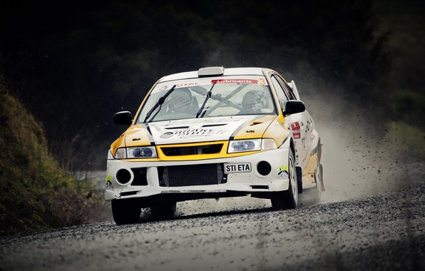 Picture Auto, Sport, Machine, The hood, Dirt, Mitsubishi, Lancer, Lights, WRC, Rally, Rally, The front