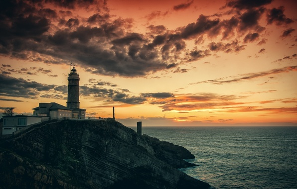 Picture sea, rock, dawn, lighthouse, morning