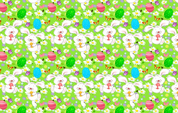 Picture butterfly, flowers, chamomile, eggs, Easter, rabbits