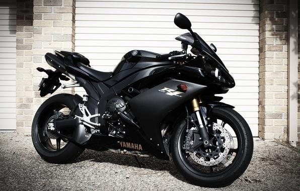 Picture black, motorcycle, black, side view, yamaha, bike, Yamaha, shutters, yzf-r1