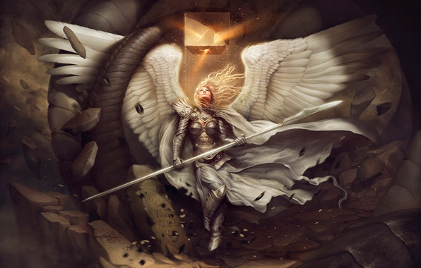 Picture the wreckage, girl, stones, wings, angel, art, spear, cube