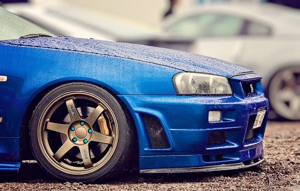 Picture blue, tuning, nissan, GT-R, skyline, Nissan, R34