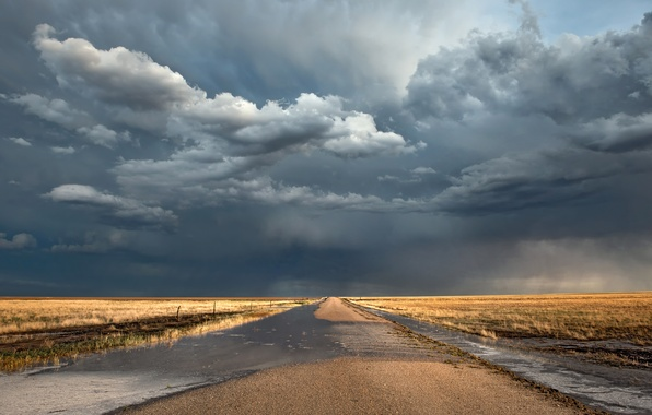 Picture road, clouds, field, after the rain, puddles