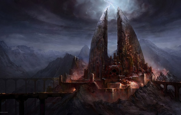 Picture bridge, castle, zipper, art, gloomy, Lord of The Rings, War In The North, Ilya Nazarov