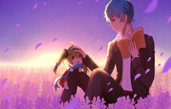 Picture sunset, anime, petals, art, girl, book, guy, vocaloid, hatsune miku, kaito, lan thu