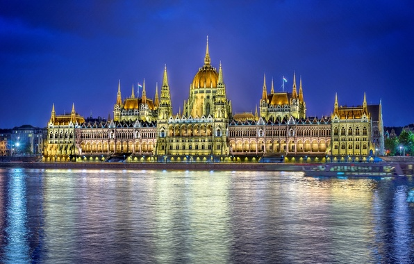 Picture water, night, the city, reflection, river, the building, lighting, Parliament, Hungary, Hungary, Budapest, The Danube, …