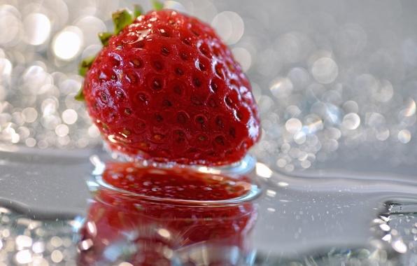 Picture drops, macro, Shine, strawberries, strawberry, berry