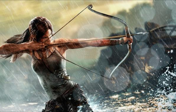 Picture girl, rain, Mike, bow, art, equipment, Lara Croft, Tomb raider