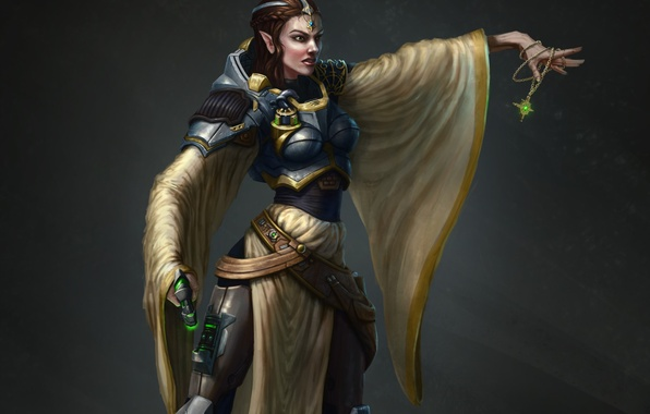 Picture girl, weapons, background, art, elf, amulet, Cleric of Helm. Forgotten Realms