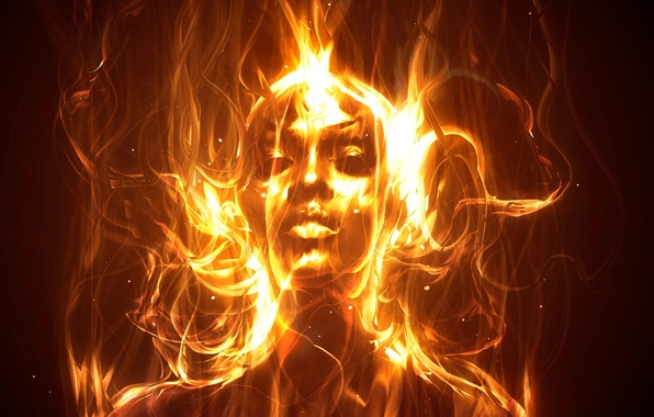Picture girl, fire, flame
