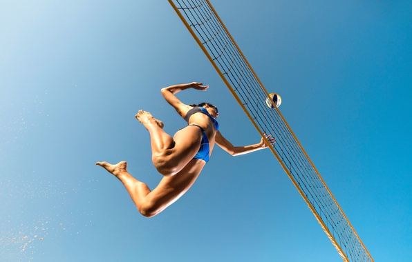 Picture girl, mesh, the ball, volleyball